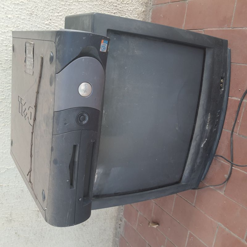 Old box television & CPU